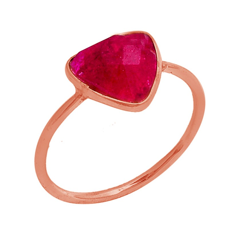 Triangle Shape Ruby Gemstone 925 Sterling Silver Gold Plated Ring Jewelry