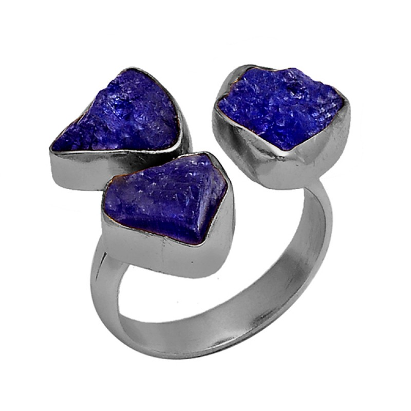Blue Sapphire Rough Gemstone 925 Sterling Silver Gold Plated Ring Jewelry