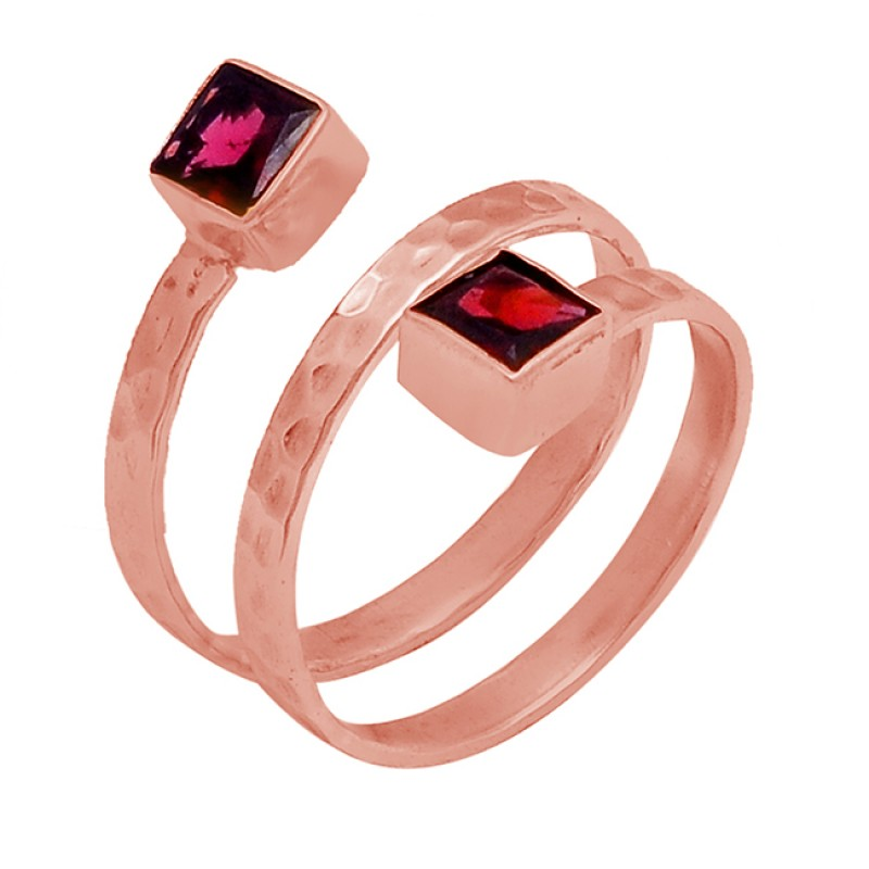 Square Shape Garnet Gemstone 925 Sterling Silver Gold Plated Ring Jewelry