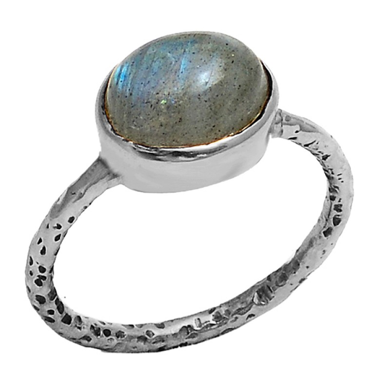 Oval Cabochon Labradorite Gemstone 925 Sterling Silver Gold Plated Ring