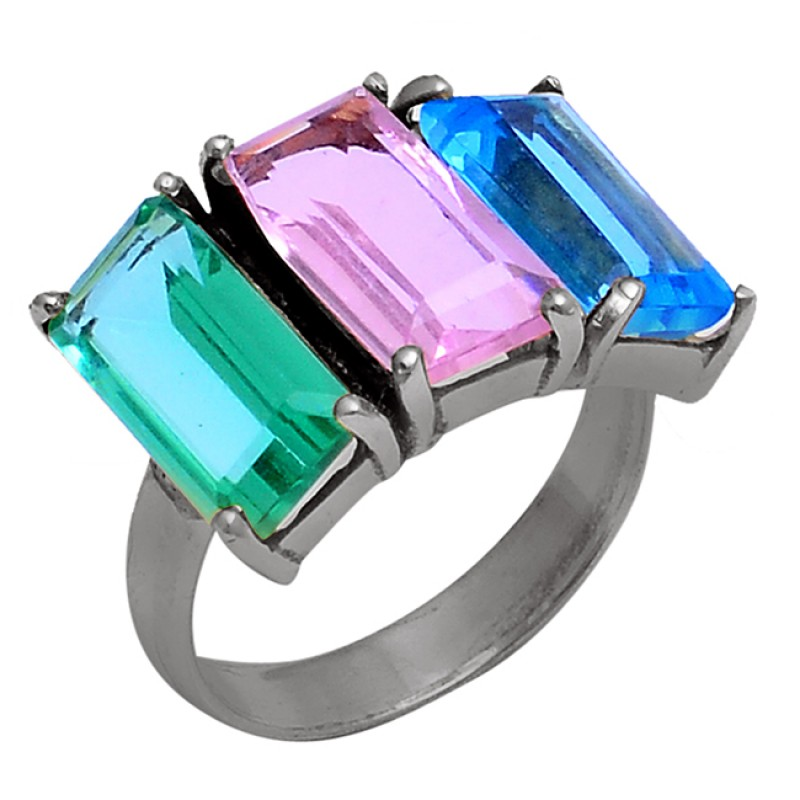 Apatite Amethyst Tanzanite Gemstone 925 Silver Prong Setting Ring Jewelry