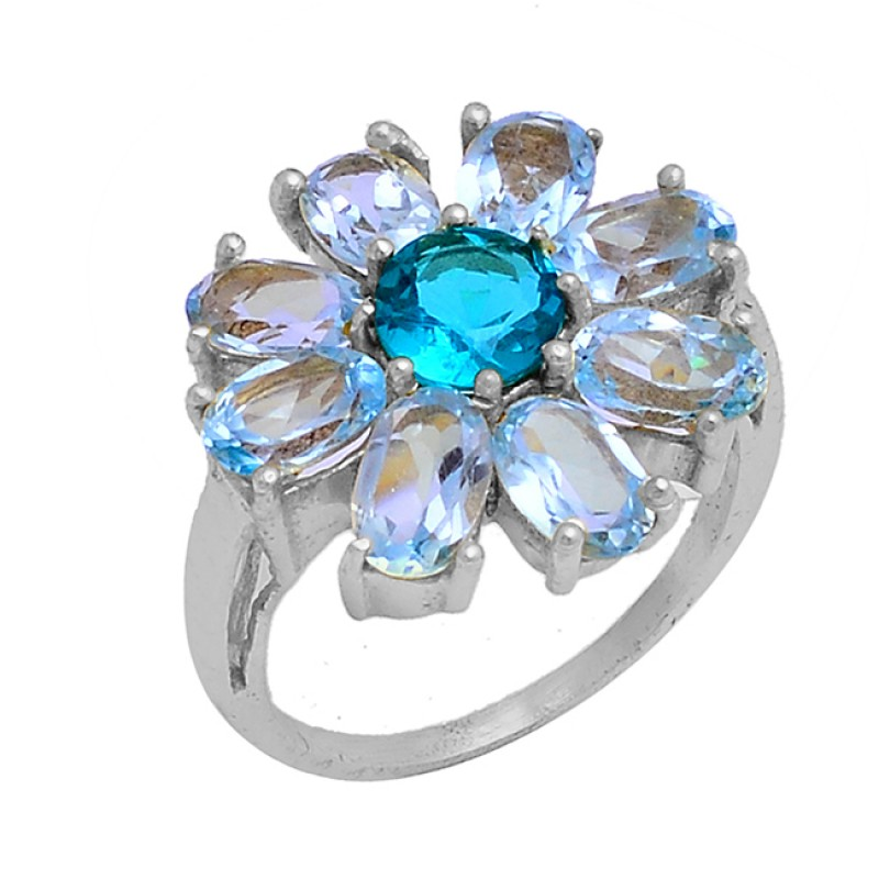 Blue Topaz Apatite Gemstone 925 Sterling Silver Gold Plated Ring Jewelry