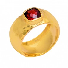 Cushion Shape Garnet Gemstone 925 Sterling Silver Gold Plated Ring
