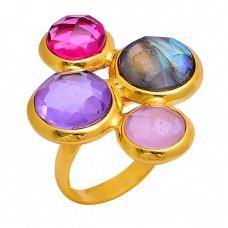 Amethyst Labradorite Chalcedony Quartz Gemstone 925 Silver Gold Plated Ring