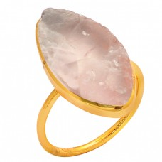 Rose Quartz Gemstone 925 Sterling Silver Gold Plated Ring Jewelry