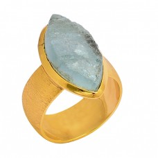 Aqua Chalcedony Rough Gemstone 925 Sterling Silver Gold Plated Ring