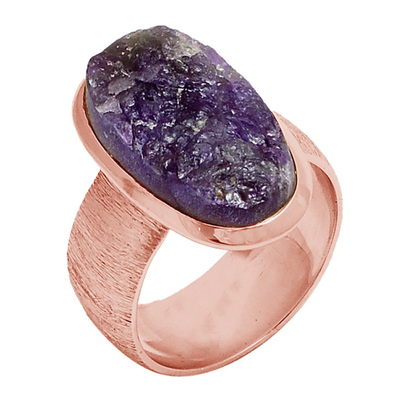 Amethyst Rough Gemstone 925 Sterling Silver Gold Plated Ring Jewelry