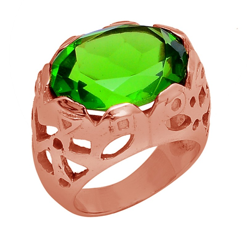 Oval Shape Peridot Gemstone 925 Sterling Silver Gold Plated Ring Jewelry