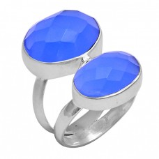 Faceted Oval Shape Blue Chalcedony Gemstone 925 Silver Ring Jewelry
