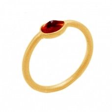 Handcrafted Simple Designer Garnet Gemstone 925 Sterling Silver Gold Plated Ring Jewelry