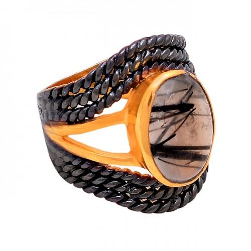 Oval Shape Black Rutile Quartz Gemstone 925 Silver Gold Plated Ring