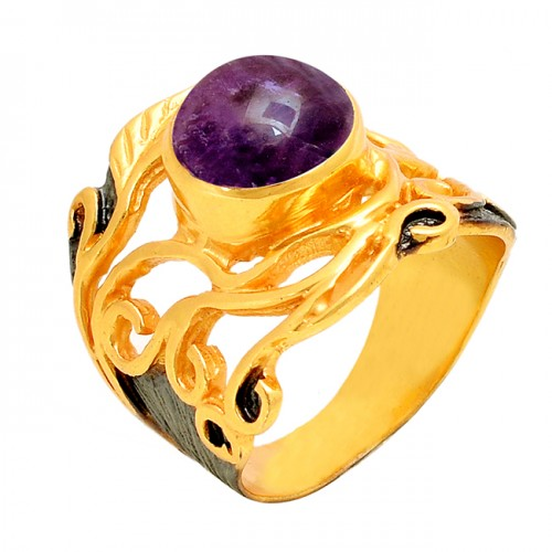 Round Shape Amethyst Gemstone 925 Sterling Silver Gold Plated Ring
