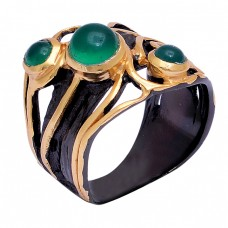 Round Shape Green Onyx Gemstone 925 Sterling Silver Gold Plated Ring