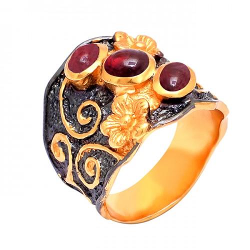 Cabochon Oval Shape Garnet Gemstone 925 Silver Gold Plated Ring