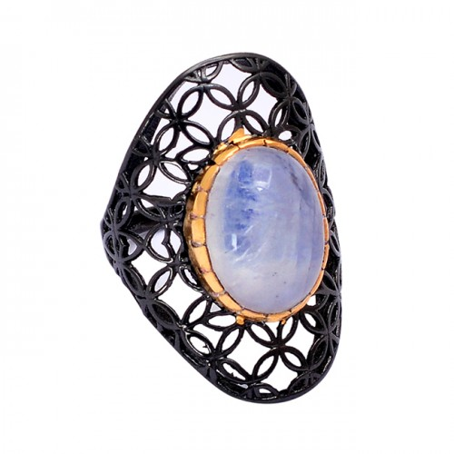 925 Sterling Silver Oval Shape Rainbow Moonstone Black Rhodium Ring