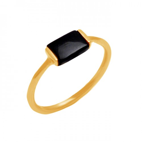 Rectangle Shape Black Onyx Gemstone 925 Sterling Silver Gold Plated Jewelry Ring