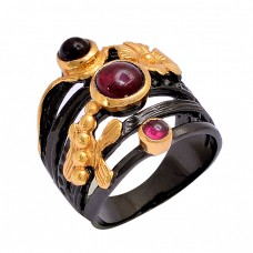 Round Shape Garnet Gemstone 925 Sterling Silver Black Rhodium Ring