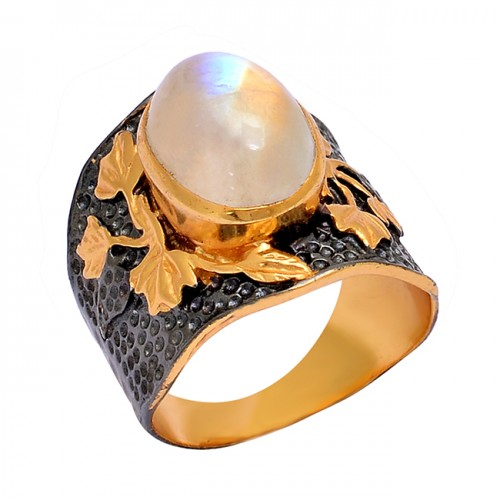 Oval Shape Rainbow Moonstone 925 Sterling Silver Gold Plated Ring