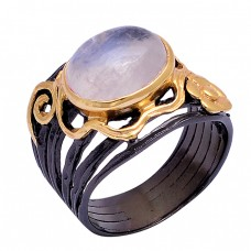 Cabochon Oval Shape Rainbow Moonstone 925 Silver Black Rhodium Ring