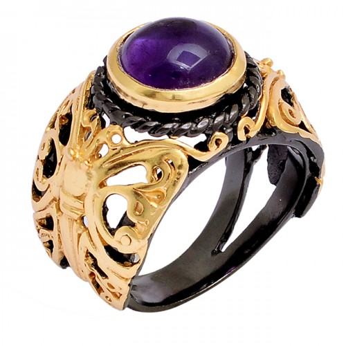 Cabochon Round Shape Amethyst Gemstone 925 Silver Gold Plated Ring