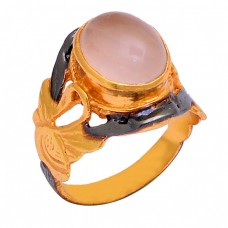 925 Sterling Silver Oval Shape Chalcedony Gemstone Gold Plated Ring