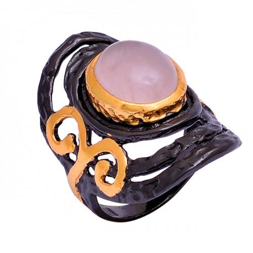 925 Sterling Silver Oval Shape Chalcedony Gemstone Black Rhodium Ring