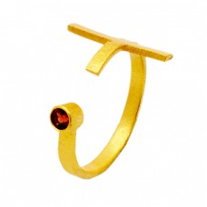 Unique Designer Red Garnet Round Gemstone 925 Sterling Silver Gold Plated Jewelry Ring