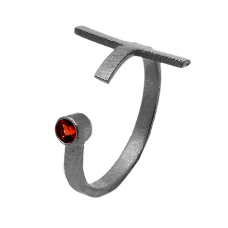 Unique Designer Red Garnet Round Gemstone 925 Sterling Silver Gold Plated Jewelry Ring