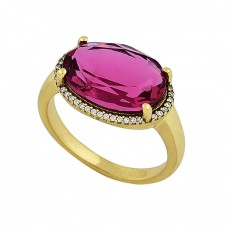 Pave Cz Pink Quartz Gemstone 925 Sterling Silver Gold Plated Ring Jewelry