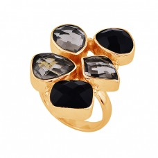925 Sterling Silver Smoky Quartz Black Onyx Gemstone Gold Plated Ring