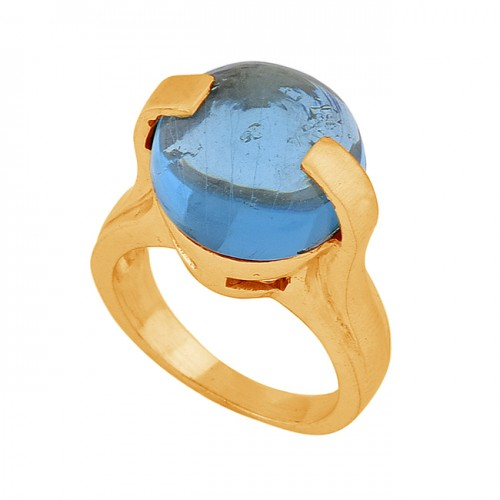 Round Cabochon Blue Quartz Gemstone 925 Silver Gold Plated Ring Jewelry