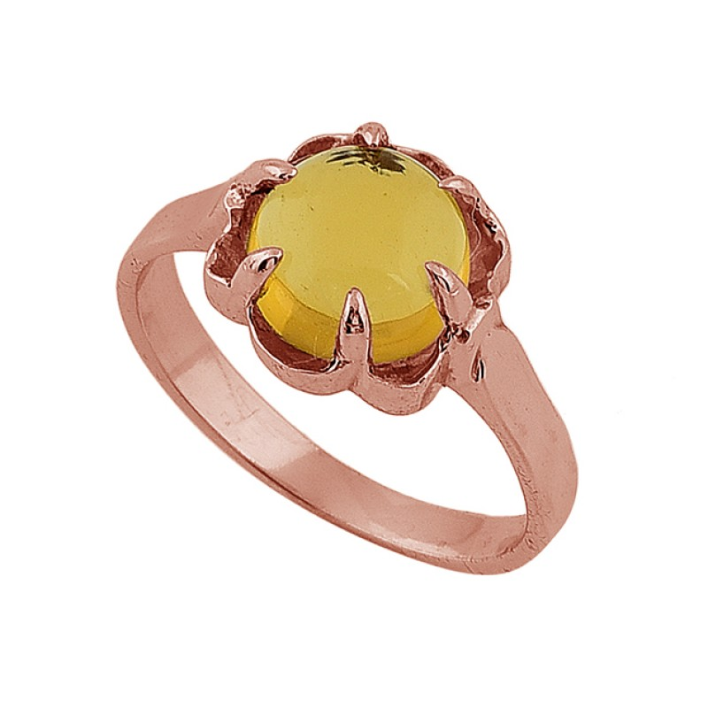 Round Cabochon Citrine Gemstone 925 Sterling Silver Gold Plated Ring