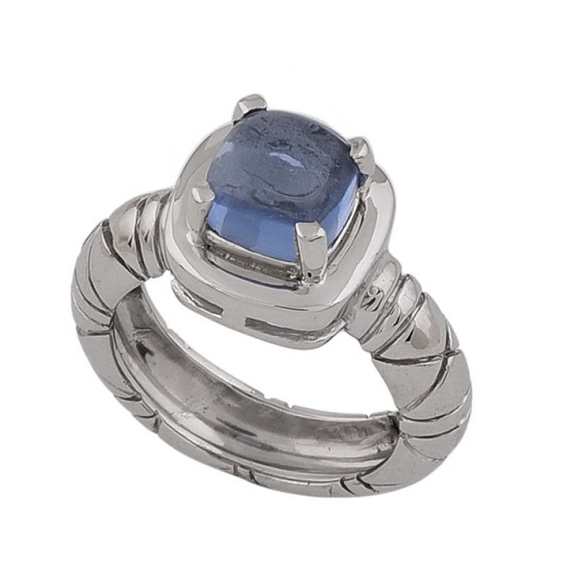 Square Shape Blue Quartz Gemstone 925 Sterling Silver Designer Ring