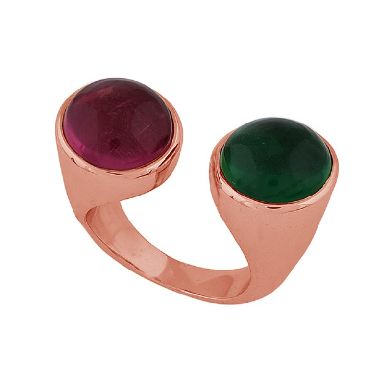 Round Shape Ruby Green Onyx Gemstone 925 Silver Gold Plated Ring