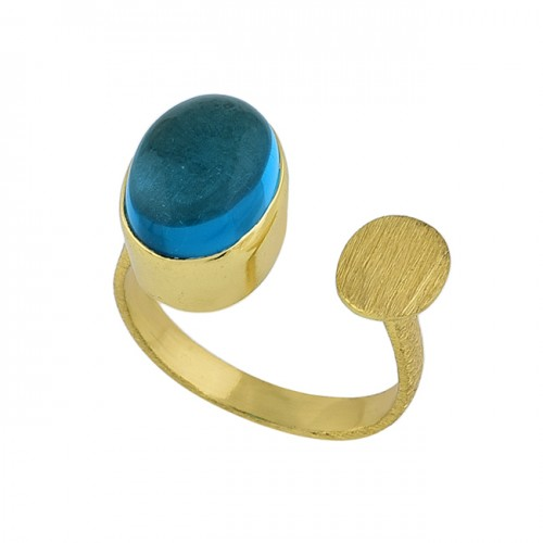 Oval Shape Apatite Quartz Gemstone 925 Sterling Silver Gold Plated Ring