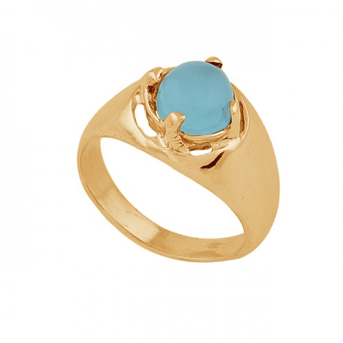Round Shape Aqua Chalcedony Gemstone 925 Silver Gold Plated Ring Jewelry