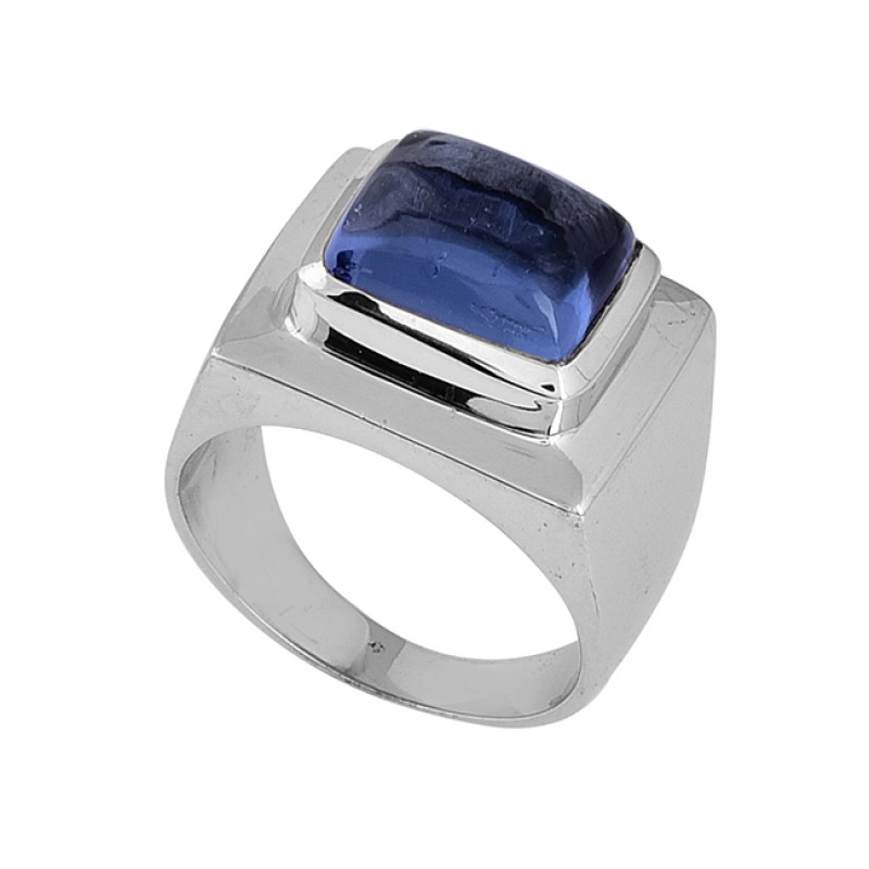 925 Sterling Silver Rectangle Shape Blue Quartz Gemstone Ring Jewelry