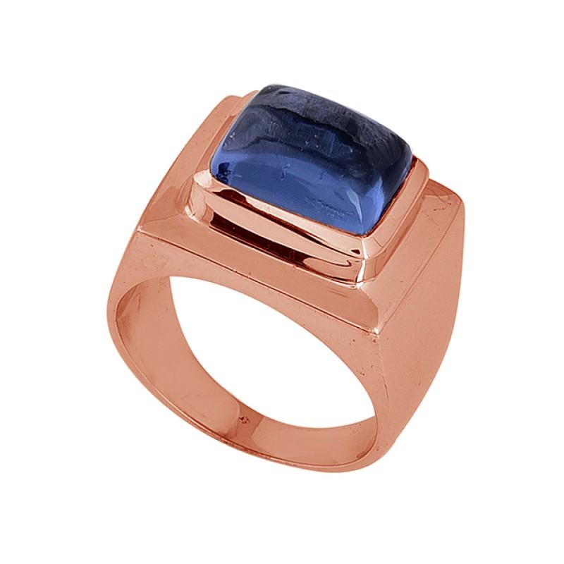 925 Sterling Silver Rectangle Shape Blue Quartz Gemstone Ring Jewelry