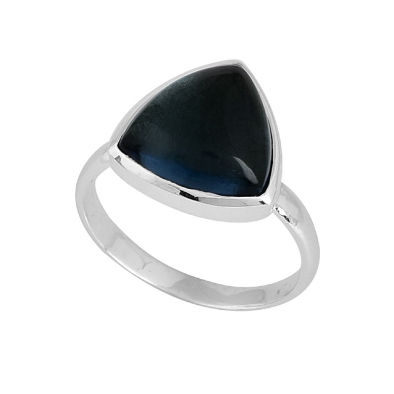 Blue Quartz Triangle Shape Gemstone 925 Sterling Silver Ring Jewelry