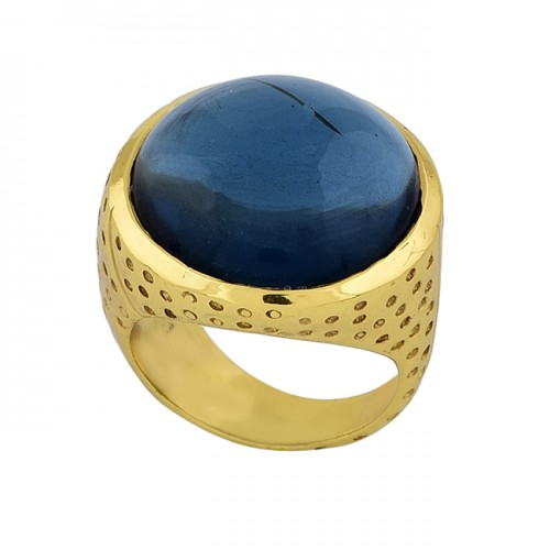 925 Sterling Silver Round Shape Blue Quartz Gemstone Gold Plated Ring