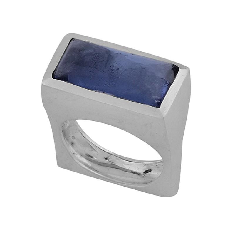 Rectangle Shape Blue Kyanite Gemstone 925 Sterling Silver Ring Jewelry