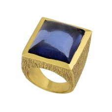 Square Shape Tanzanite Quartz Gemstone 925 Silver Gold Plated Ring Jewelry