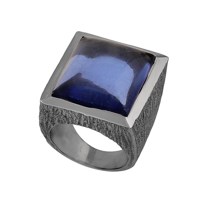 Square Shape Tanzanite Quartz Gemstone 925 Silver Gold Plated Ring Jewelry