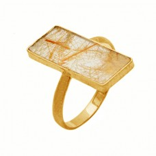 Rectangle Shape Golden Rutile Quartz Gemstone 925 Sterling Silver Gold Plated Ring