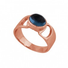 Oval Shape Tanzanite Quartz Gemstone 925 Silver Rose Gold Plated Ring