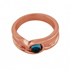 Round Shape Tanzanite Quartz Gemstone 925 Silver Rose Gold Plated Ring