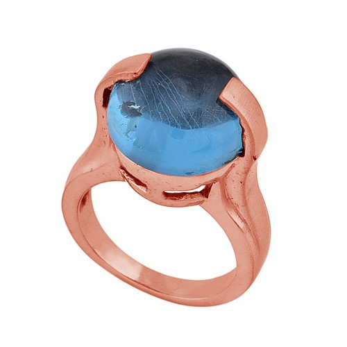 925 Sterling Silver Tanzanite Quartz Gemstone Rose Gold Plated Ring