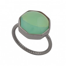 Six Corner Prehnite Chalcedony Gemstone 925 Silver Black Rhodium Ring