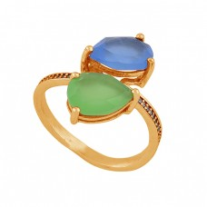 Pear Shape Chalcedony Gemstone 925 Sterling Silver Gold Plated Ring