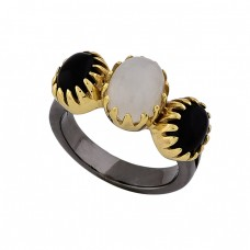 Black Onyx Moonstone 925 Sterling Silver Gold Plated Black Rhodium Ring